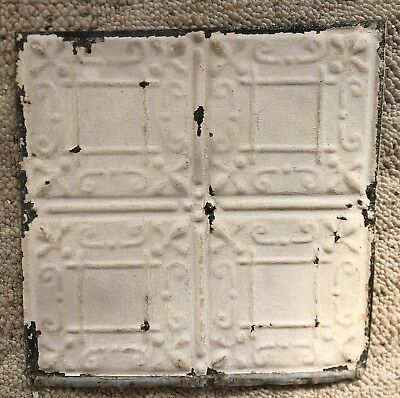 1890's 12 x 12 Antique Tin Ceiling Tile Ivory Metal Reclaimed Anniversary 152-18
