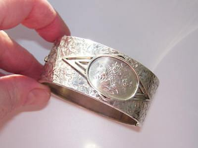 """Stunning Antique Victorian Solid Silver 1"""" Wide Aesthetic Engraved Hinged Bangle"""