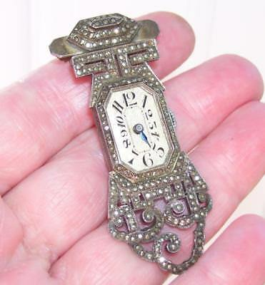 Stunning Antique Art Deco Solid Silver Marcasite Cocktail Watch Pin Brooch