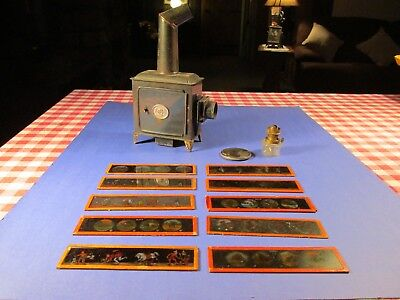 Antique Magic Lantern Oil Lamp Slide Projector And Glass Slides
