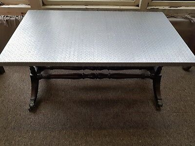 INDUSTRIAL COFFEE SIDE TABLE Beautiful upcycled piece of furniture + Steel top