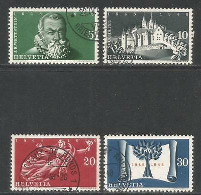 Switzerland 1948 Independence 300th Anniv--Attractive Topical (312-15) fine used