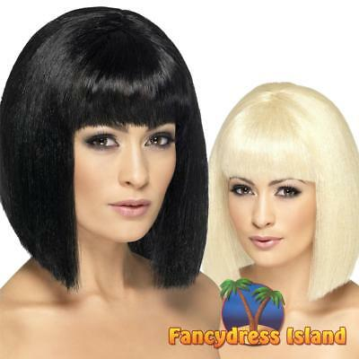 Coquette Wig Blunt Short with Fringe Glamour Adult Women's Fancy Dress Costume