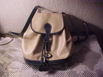 Dooney & Bourke Beige & Blue Backpack In Very Good Used Condition