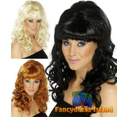 60's Beehive Beauty Curly Wig Adult Womens Fancy Dress Costume Accessory