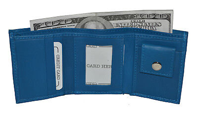Kids Wallet Small Trifold New Blue Very Cute Wallet Gift Idea Free Shipping