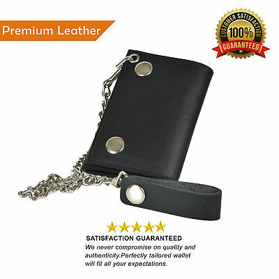 Men's Genuine Leather Black Trifold Wallet with Chain Biker Trucker Leatherboss