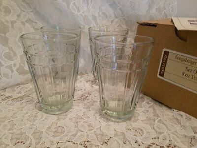 Beautiful Set Of Four Small Longaberger 8 oz Tumblers  Woven Traditions Glasses