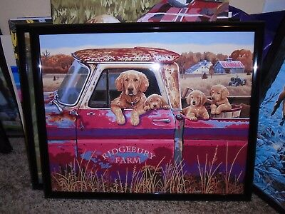 "1 Hand Painted Picture Of Old Pick Up With Puppies  16"" X 20""  Black Frame"