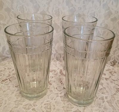 Beautiful Set Of Four Tall  Longaberger 17 oz Tumblers  Woven Traditions Glasses