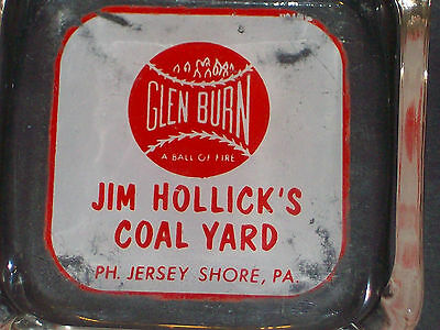 Rare Jim Hollick's Coal Yard Glen Burn A ball of fire. Jersey Shore, Pa. ashtray