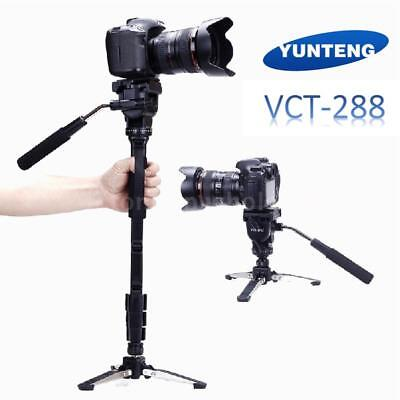 Portable DSLR Camera Tripod Stand Monopod Fluid Pan Head & Unipod Holder Kit