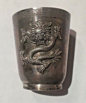 Antique Chinese 950 Silver Dragon Cordial Cup 72.4 Gr