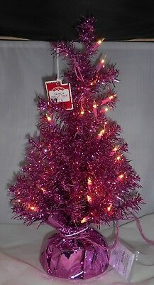 Pink Christmas Tree 24 Inch Pre Lit Artificial Holiday Tabletop 2 Ft Tall Wstand