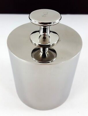 Vintage 2kg Stainless Calibration Weight Screw Knob Lab Analytical