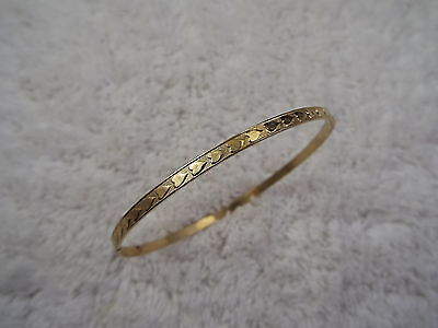 Goldtone Etched Heart Bangle Bracelet (A44)