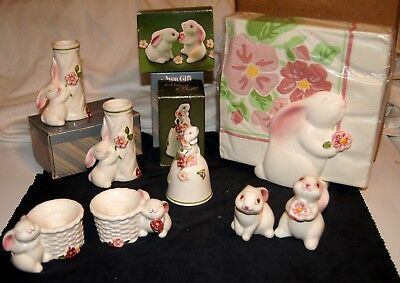 Avon Bunny Salt And Pepper, Bell, Bud Vases, Candle Holders, And Napkin Holder