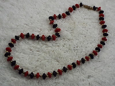 Brass Red Black Glass Bead Necklace (C12)