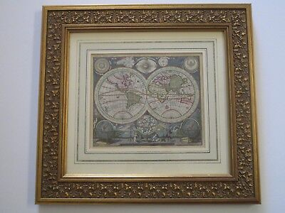 Antique Map Rare Celestial Planisphere Hand Colored Painting Ornate Globe Angels
