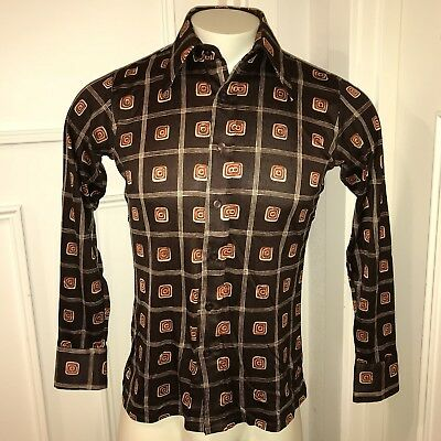 Groovy Vtg 70s Brown DONALDSONS Mens MEDIUM Disco Stretch NYLON Mod Dress shirt