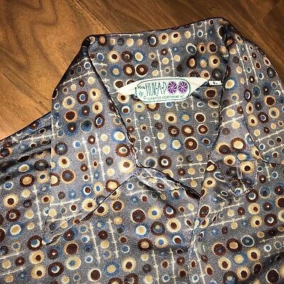 Vtg 60s 70s Gray HUCKAPOO Mens LARGE Shiny Disco Saturday Night Fever MOD shirt
