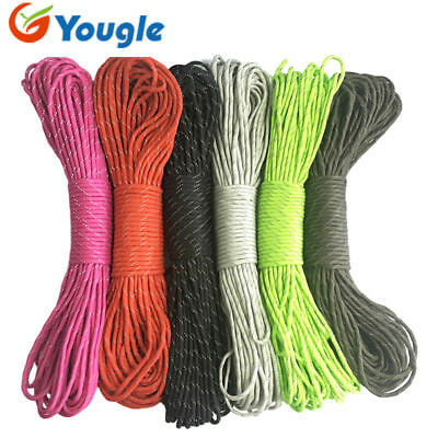 50FT 100FT Reflective Mil Spe III 550 Paracord Parachute Cord 7 Strands Lanyard