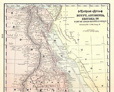 1901 Antique EGYPT Map Vintage Map of Abyssinia Gift for Map Collector 4959
