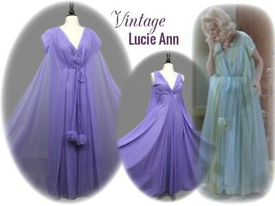 CLAIRE SANDRA Lavender LUCIE ANN Pom Pom NIGHTGOWN + ROBE Nylon SWEEP PEIGNOIR
