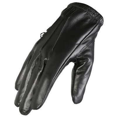 Texpeed Black Soft Leather Motorcycle / Motorbike Gloves With Kevlar Lining