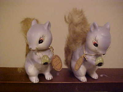 "2 ""Spunky"" The Furry Gray Squirrels Enesco Japan 1960 w/tags"