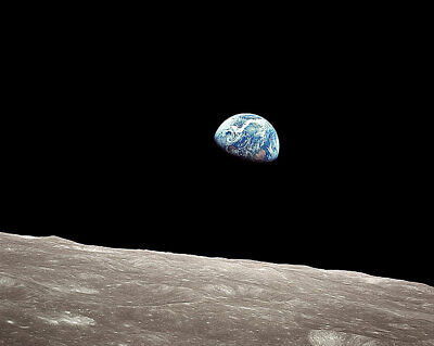 APOLLO 8 EARTHRISE FROM THE MOON 8x10 SILVER HALIDE PHOTO PRINT