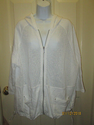 Zenergy By Chico's White Cotton 3/4 Sleeve Zip Front Jacket Chico's Size 3