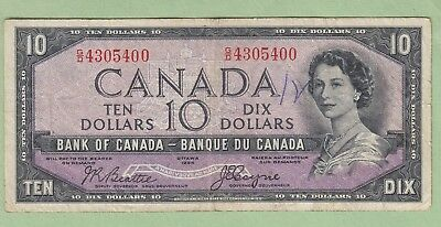 1954 Bank of Canada 10 Dollar Note Devil's Face - G/D4305400 - F/VF (Flawed)