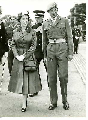 1957 CATTERICK CAMP Queen ELIZABETH II with her cousin Edward Duke of KENT