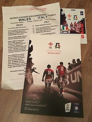 WALES V ITALY 6 NATIONS RUGBY INTERNATIONAL PROGRAMME & Team Pass. 11/03/2018