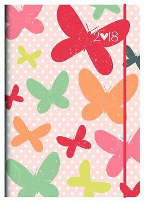 Collins 2018 Flutter Butterfly A6 Day to Page Elastic Closure Diary CF61-FL