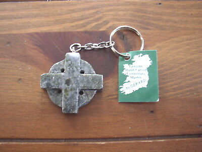 Connemara Marble by Gerard Celtic Round Cross handcrafted Key Ring