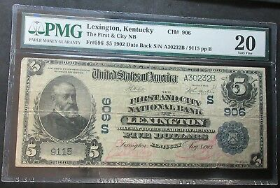 1902 $5 Fr#596 Date Back The First & City Nb Ch# 906 Lexington, Ky Pmg 20 Vf