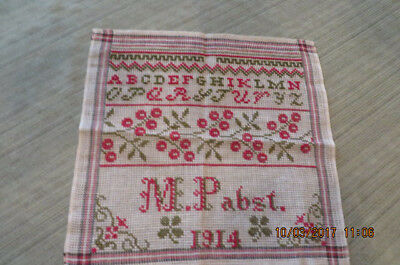 Signed Schoolwork Sampler from Germany, dated 1914- Exc Condition-price reduced