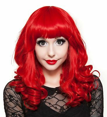 Rockstar Cosplay Pin-up Curly Costume Wig Women's Red Bombshell Girl Stylable