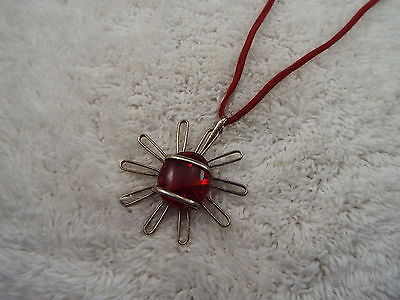 Cord Silvertone Red Glass Pendant Necklace (D26)
