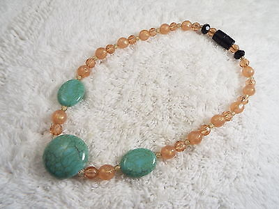 Pink Blue Bead Necklace (C67)