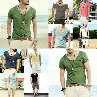 Sexy Mens Deep V Neck T-Shirts Short Sleeve Slim Fit Basic Tshirts Man Tees Tops