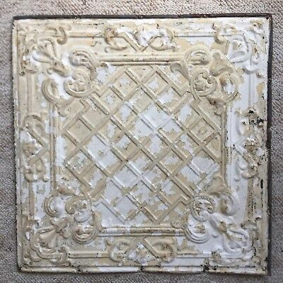 "1890's 24"" x 24"" Antique Reclaimed Tin Ceiling Tile Tan White 167-18 Anniversary"