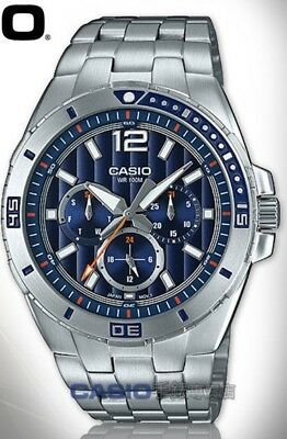 NEWEST Casio MTD1060D-2A Men's Stainless Steel Watch 100M WR BLUE Dial DAY DATE