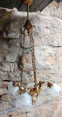 Lustre ancien BRONZE 3 angelots  anges putti  / suspension
