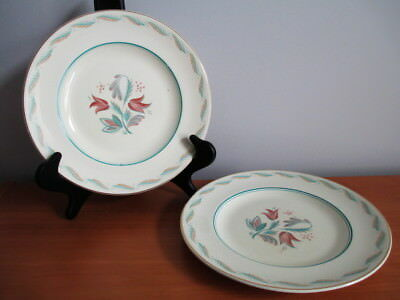 """Wedgwood Fanfare Dinner Plate x 2 Turquoise Brown Flowers 9 3/4"""" Wagg England"""