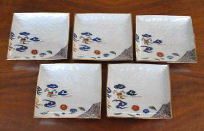 S/5 Circa 1700 Japanese Kakiemon Square Molded Porcelain Saucers Floral Pattern