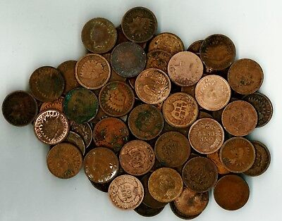 Mixed Lot of 100 Indian Head Cents Assorted Years in Lower Grades As Pictured