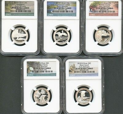 2018 S Silver Quarter Set Early Releases NGC PF70 Ultra Cameo E.R.